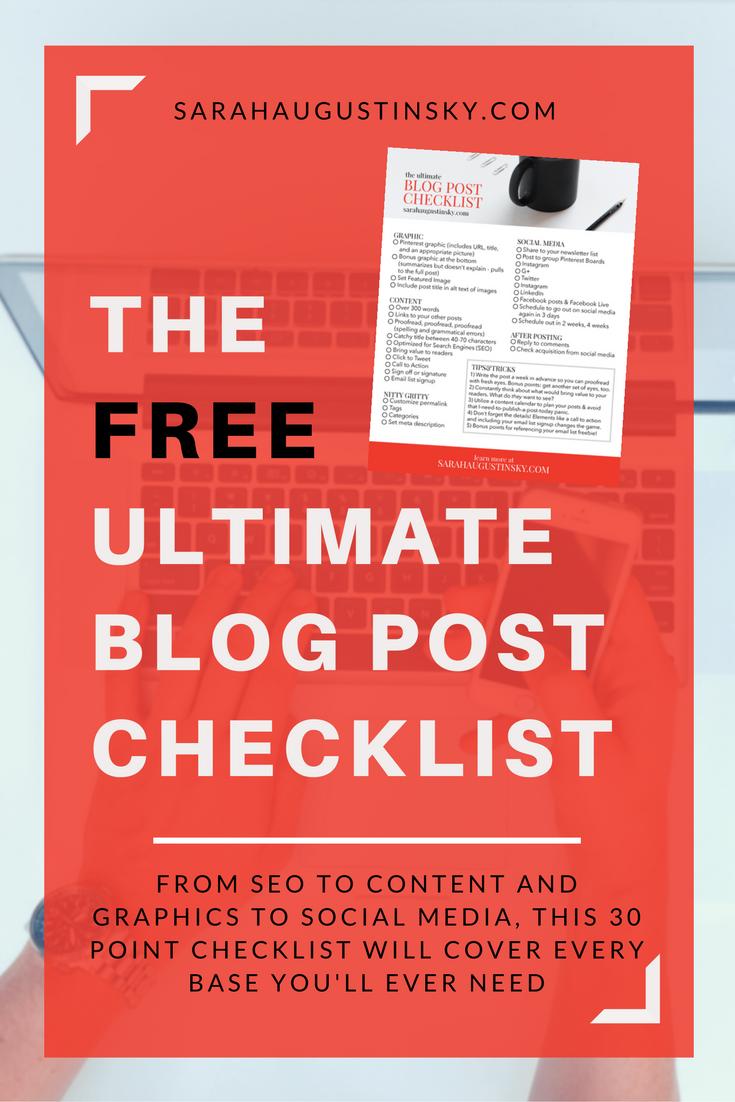 FREE Ultimate Blog Post Checklist – Sarah Augustinsky